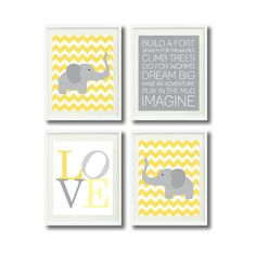 Baby Boy Nursery Elephant Art Print Set-Four 8x10-Chevron-LOVE-Typography-Playroom Rule Quotes-Kids Room Decor-Wall Art-Yellow, White, Grey on Etsy, $52.00