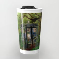 Abandoned Tardis doctor who in deep jungle TRAVEL MUG  #travelmug #mug #acrylic #watercolor #ink #comic #3d #popart #doctorwho #davidtennant #10thdoctor #tardisdoctorwho #timemachine #tardis #vangogh #jungle #woods #phonebooth