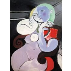 By Pablo Picasso Nude Woman in a Red Armchair, Oil paint on canvas, Tate. A portrait that Picasso made of Marie-Thérèse Walter at his at Boisgeloup. Pablo Picasso, Kunst Picasso, Art Picasso, Picasso Paintings, Georges Braque, Portrait Picasso, Red Armchair, Art Visage, Cubist Movement