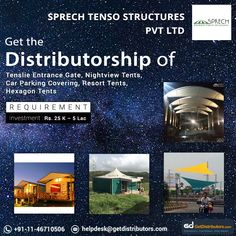 Get the of Car Parking Covering, Resort Tents, Tenslie Entrance Gate, Nightview Tents & Hexagon Tents, under the brand name Sprech Tenso Structures. Share your contact number to grab this Fabric Structure, Roof Structure, Shade Structure, Party Canopy, Canopy Tent, Tents, Daman And Diu, Membrane Structure, Become A Distributor