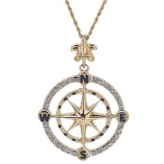 14k+Yellow+or+White+Gold+Compass+Rose+Pendant+for+Chain+with+Diamonds+458D