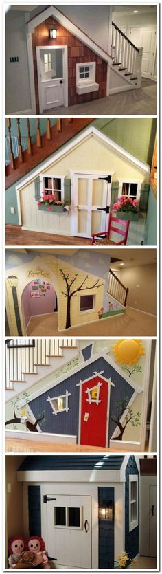 50 Amazing Playground Arena Ideas Under Stairs Playhouse, Under Stairs Dog House, Build A Playhouse, Under Stairs Playroom, Finished Basement Playroom, Hobbit Playhouse, Kids Basement, Playhouse Ideas, Basement Play Area