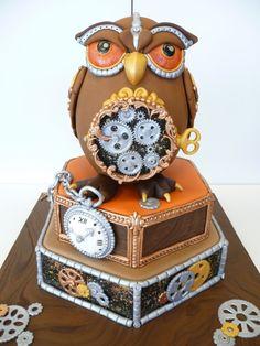 Steam punk owl cake