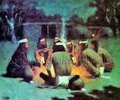 Apache Medicine Song~Native American~Remington~Counted Cross Stitch Pattern #StoneyKnobFarmHeirlooms