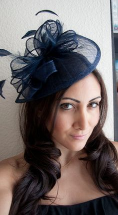 I want to wear this to @Rosemarie Calabro 's wedding | PENNY Navy Blue Mesh Hat Feather Fascinator Headband by EyeHeartMe, $54.00