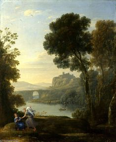 """""""Landscape with Hagar and the Angel"""" by Claude Lorrain (1600-1682, France)"""