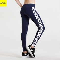 d0ac6bf8ae717 New Sport Women Leggins Hit Color Fight Cross with Fitness Trousers Pants  Stretch Waist Yoga Pants Quick Dry Thin