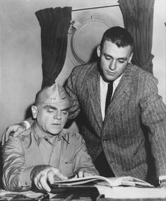 James Cagney with his son during production of The Gallant Hours.