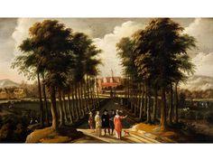 LANDSCHAFT MIT FIGUREN Öl auf Leinwand. 120 x 202 cm. Antiker Rahmen. Dieses besonders schöne Landschaftsgemälde mit Figuren entstand in einer...