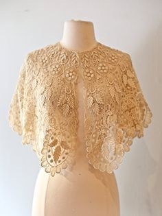 Hey, I found this really awesome Etsy listing at https://www.etsy.com/listing/400240885/vintage-edwardian-lace-bridal-cape
