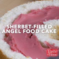Sherbert-Filled Angel Food Cake Recipe