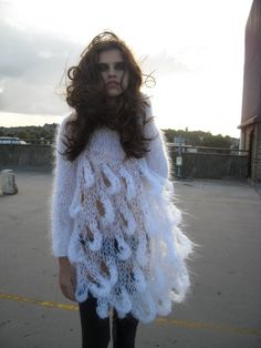 Hand Knitted White Mohair Dress