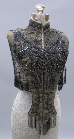 Victorian jet beaded collar, together with a Victorian capelet with jet beading.
