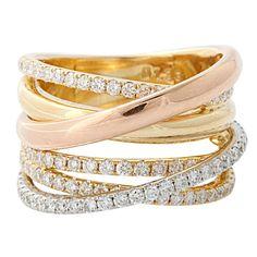 Tricolor  rose gold diamond Ring  elfsacks