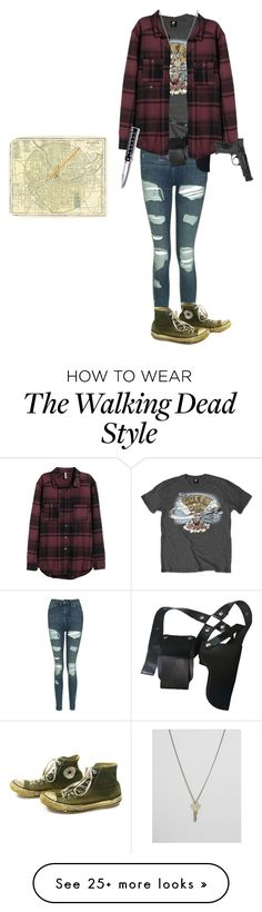 """My the walking dead oc"" by imbored0 on Polyvore featuring Topshop, H&M, Cold Steel, Converse, Smith & Wesson, The Giving Keys and Paper Mate"