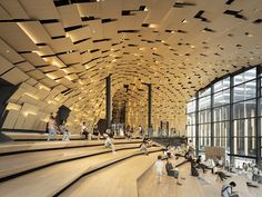Portmix Shanghai, China by Kengo Kuma and Associates - 谷德设计网 Auditorium Architecture, Auditorium Design, Kengo Kuma, Architecture Portfolio, Interior Architecture, Architecture Diagrams, Multicultural Activities, Parametric Design, Site Plans