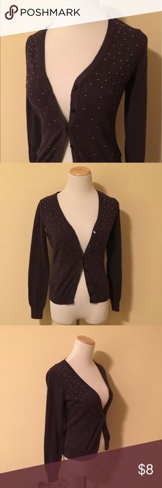 Sparkly Purple Target Cardigan Sz M This deep purple cardigan has small purple beads all over it, giving it a little something special! It can be worn to the office or for a casual day out. It's lightweight enough for summer, but heavy enough to keep you warm in a chilly office. Worn a few times, no signs of wear or tear. Brand-new condition! Size XS but fits larger. Merona Sweaters Cardigans