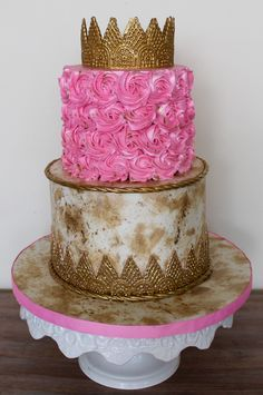 Serendipity Cakes by Olivia Girly Birthday Cakes, Gold Crown, Serendipity, Rosettes, Pink And Gold, Desserts, Food, Postres, Deserts