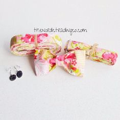 Hidden Mickey Mouse Botanical Floral Upcycled VB Designer Set Dog Collar Bow Tie Leash Gifts for Pet Owner New Puppy Gift Large Breed Girl Swag #doglovers #fashiondog #dogs #puppylove