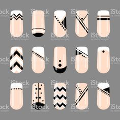 Nail Art Designs Pdf Almond - nail art geometric black and white nude design vector image Line Nail Designs, Simple Nail Art Designs, Easy Nail Art, Cool Nail Art, Black And Nude Nails, Black And White Nail Designs, Black Nail Art, Line Nail Art, Almond Nail Art
