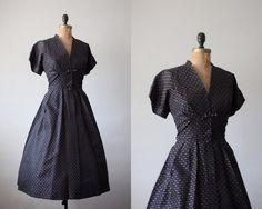 vintage 1940's black bow party dress  Vivian
