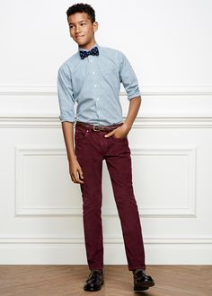 Brooks Brothers Boy's 14-Wale Corduroys with adjustable waist, Mini Plaid Sport Shirt and Robot Embroidered Bow Tie