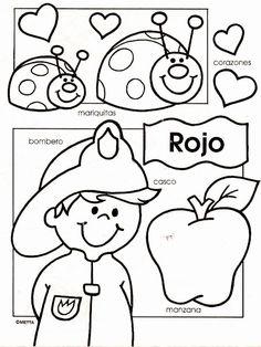 Dibujos infantiles con los colores escritos para colorear por los niños