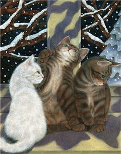 Charming cat art, Christmas art, floral art by renowned painter and illustrator Anne Mortimer.