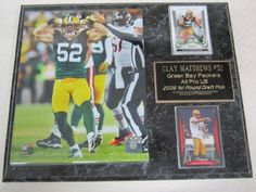 """Green Bay Packers Clay Matthews Muscle Pose 2 Card Collector Plaque by J & C Baseball Clubhouse. $24.99. This 2 card collectors plaque measures 12""""x15"""" and includes a fully licensed 8""""x10"""" photo that IS REMOVEABLE and 2 cards. A GREAT ITEM for any sports fan!"""