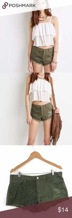 """Forever 21 Embroidered Panel Cutoffs Shorts K1 Waist: 17"""" Length: 12""""  Condition: No Rips; No Stains  100% Cotton   📦Orders are shipped within 24hrs! {Except weekends}📦  🚫No Trades🚫No Holds🚫 Forever 21 Shorts Jean Shorts"""
