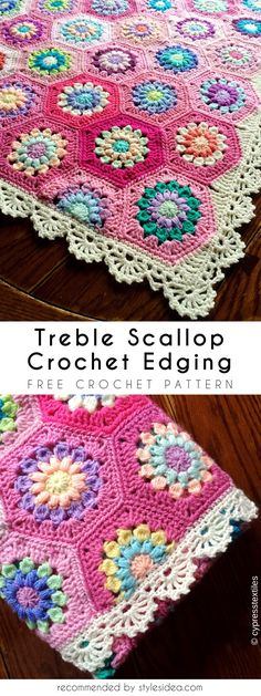 Treble Scallop Crochet Edging Free Crochet Pattern #crochet #edging #freepattern