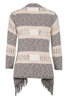 striped 3/4 sleeve cardigan with fringe - maurices.com
