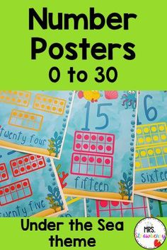 Practice numbers in your kindergarten or prek classroom with these adorable under the sea posters to 30. Each number has a ten frame to match. Laminate and display in your classroom for young students. Practice counting and recognizing numbers 0 - 30.