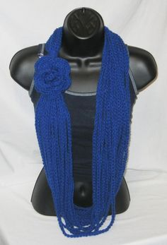 Crochet Infinity loop scarf cowl with flower attached blue $24.00