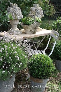 Things We Love...Garden Envy — Providence Design  I love the old table and chair surrounded by romantic pots and plants .Very Victorian looking