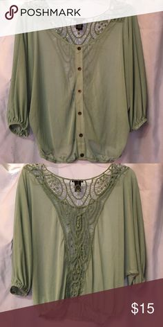 Pale green sheer top Super fun pale green sheer top. With open lace detailing in the back and cinched quarter sleeves! Rue 21 Tops Blouses