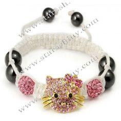 Shamballa Bracelet, alloy cat & clay rhinestone beads, adjustable.
