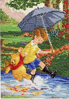 M.C.G. Textiles 52562 Christopher Robin and Pooh Vignette Disney Dreams Collection Counted Cross Stitch Kit, 5 by 7-Inch MCG Textiles
