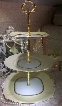 Beautiful Vintage China Art Deco 3 Tier Cake Stan in yellow cream and gold. & large vintage cake plate/stand green chintz with multi coloured ...