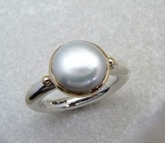 Large pearl silver ring pearl rings women silver ring by Baiwy