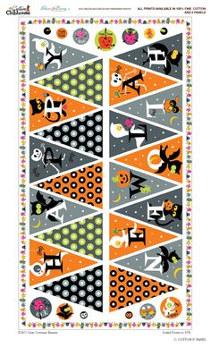 Halloween fabric bunting flags fabric panel!