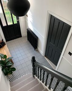 So glad we went dark on the internal doors. This one is the living room door. The colour is Lamp Black by which… Black Interior Doors, Black Doors, Black And White Hallway, Black White, Style At Home, Victorian Hallway, Victorian House, Hall Flooring, Flooring Ideas