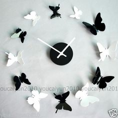 Novelty Room Decoration Home Decals Wall Decor Butterfly Sticker Clock Time