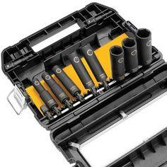 DEWALT IMPACT READY Socket Set The impact-ready socket set (view larger). Home Depot, Dewalt Tools, Impact Socket Set, Deep Impact, Mechanic Tools, Garage Tools, Impact Wrench, Impact Driver, Cool Tools