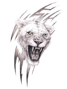 Tiger Tattoo Drawings | Tattoo-Motiv: Growling Tribal Cat - Jolie.de