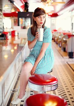 checkers, milkshakes and red lips