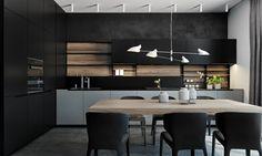 conception de cuisine noire et bois et crédence design