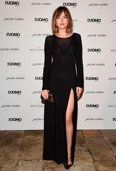 dakota johnson look black dress
