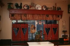 My Dear Trash: Country Shutters.would look darling on my kitchen window over t. - Primitive Gathering and Rustic Delight - Curtain Farmhouse Decor, Rustic House, Country Decor, Decor, Primitive Decorating Country, Home, Country Shutters, Home Decor, Primitive Kitchen