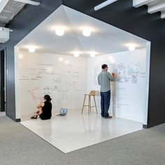 Why install a white board when you can write on the walls? Creative office desig… Why install a white board when you can write on the walls? Creative office design idea for brainstorms, group discussions, and more. Creative Office Space, Office Space Design, Modern Office Design, Office Interior Design, Office Interiors, Office Designs, Corporate Office Design, Office Boards, Office Walls